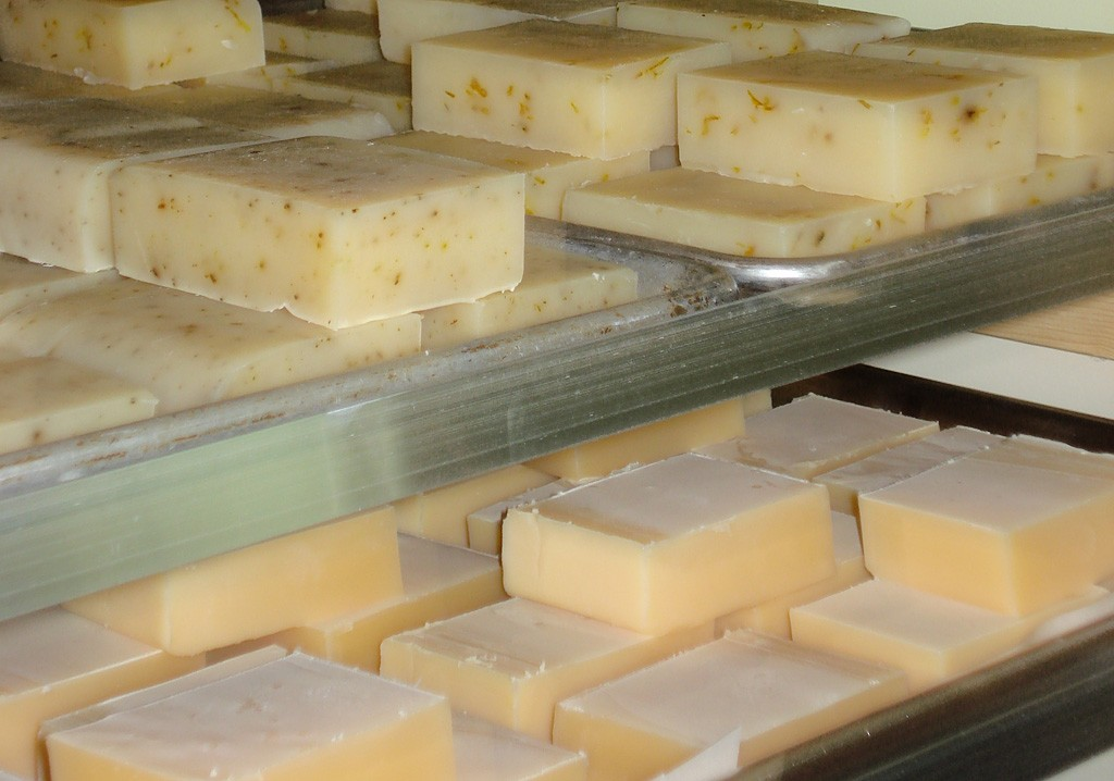 Finished trays of handmade soap.